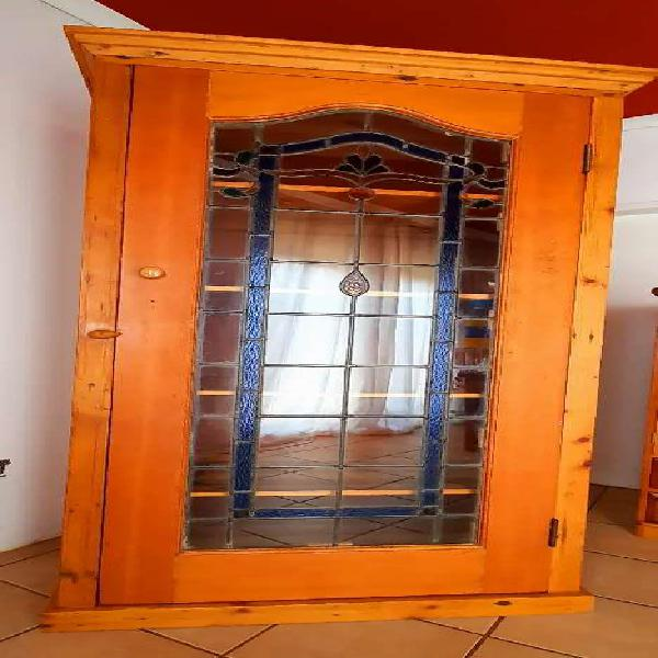 Large Lead-glass Oregon Pine Cupboard