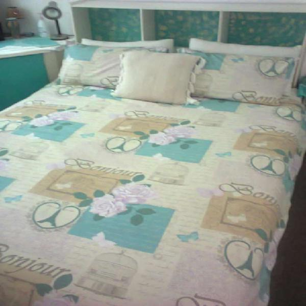 Queen bed with side cupboard, head board and corner cupboard
