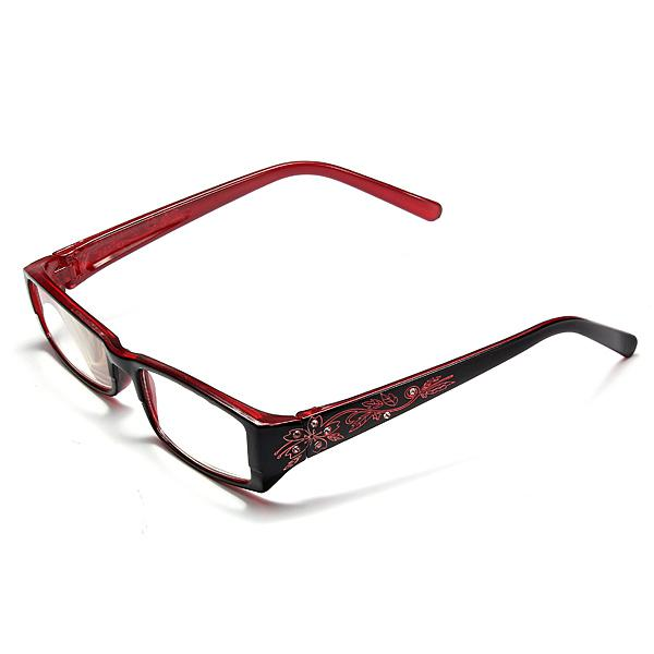 Red female diamond flower frame presbyopic reading glasses