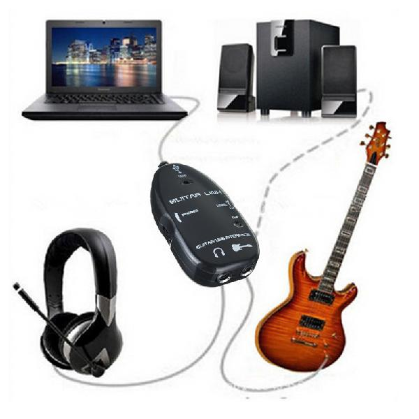 Guitar to usb interface link audio wire 6.5mm male stereo
