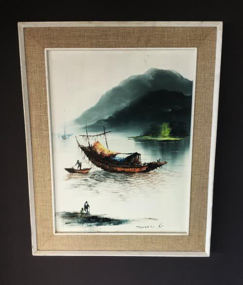Beautiful vintage signed oil on board oriental style man and