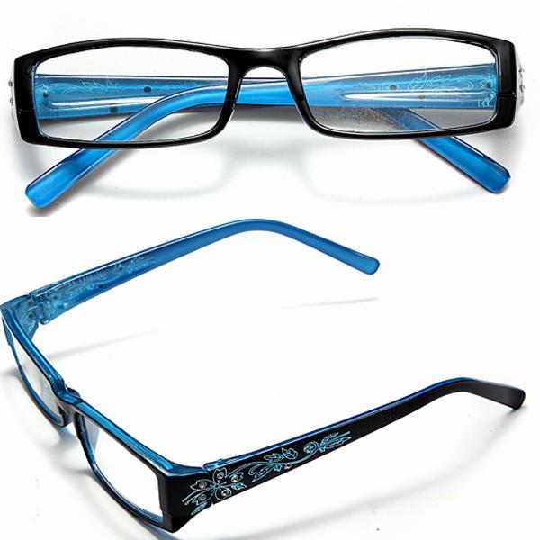 Blue female diamond flower frame presbyopic reading glasses