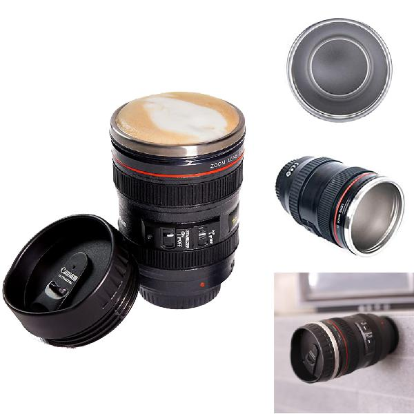 400ml camera lens coffee mug stainless steel water cup