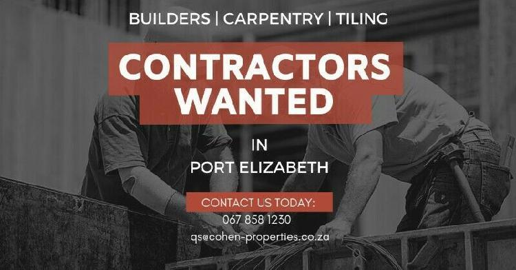 Building contractors wanted in port elizabeth, eastern cape!