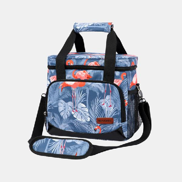 Women multifunction waterproof print lunch box bag insulated