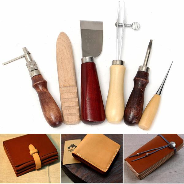 6pcs wood handle leather craft tool kit leather hand sewing
