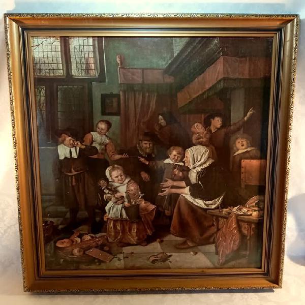 Framed print of het st. nicolaasfeest. ian steen (1626-1679)
