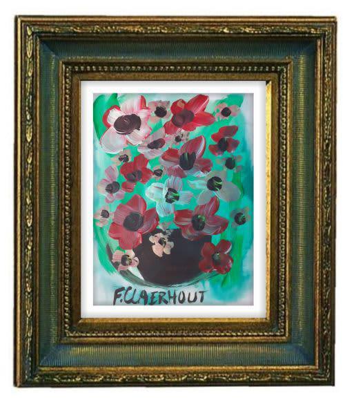 Frans claerhout - flowers - 42cm x 30cm (acrylic). coa