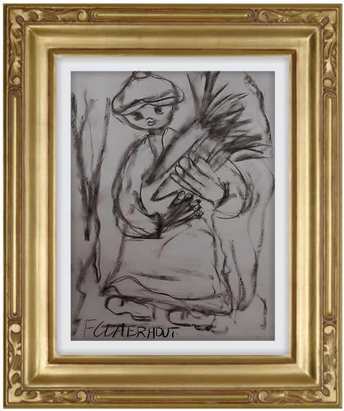 Large!!! frans claerhout - figure - 65cm x 50cm (charcoal).