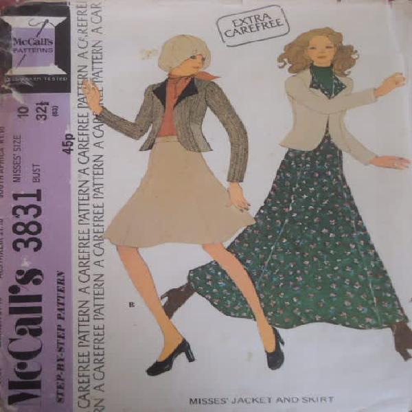 Retro mccalls patterns 3831 long & short skirt & jacket size