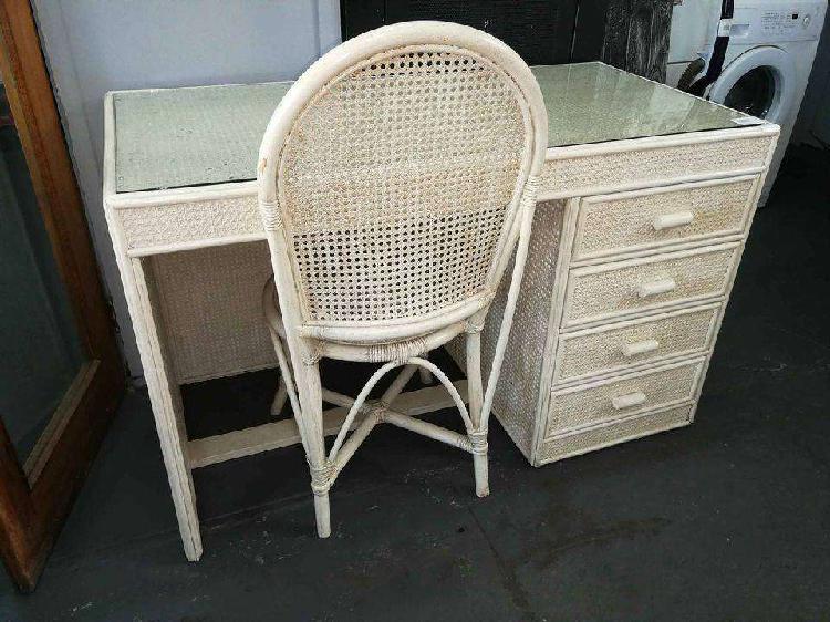 Cane desk + chair
