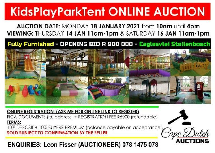 ONLINE TIMED FULLY FITTED KIDS PLAY TENT AUCTION MON 18 JAN