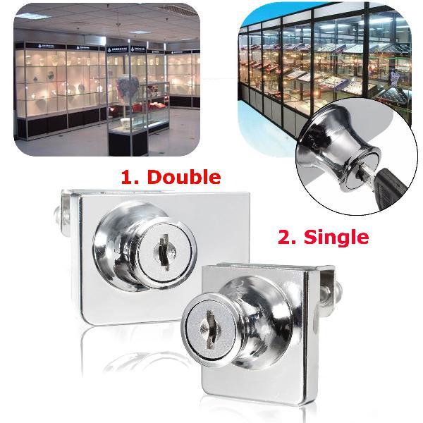 Single/double glass cabinet door lock cam key showcase