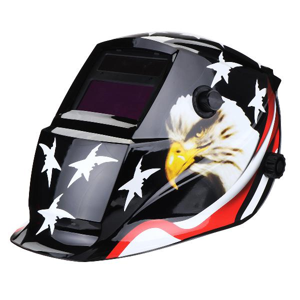Solar Powered Auto-Darkening Welding Helmet Black Hawk