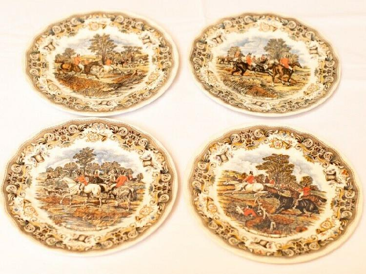 Vintage decorative plates by churchill - hunting scenes by j