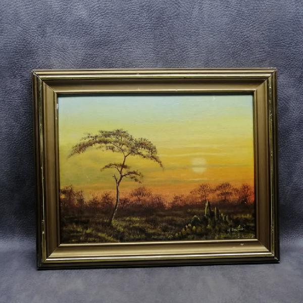 Detailed, framed, oil on board landscape by e bower - 390mm