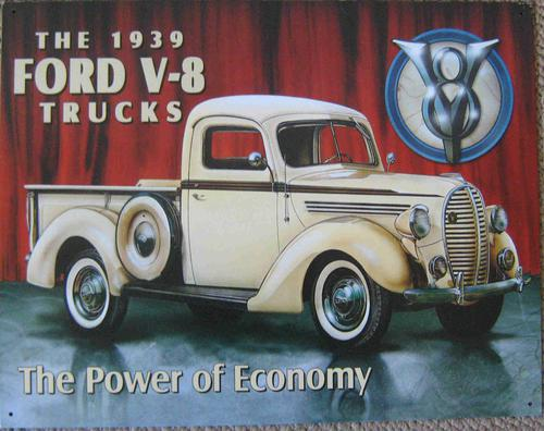 Ford pick-up trucks 1939 vintage style metal sign