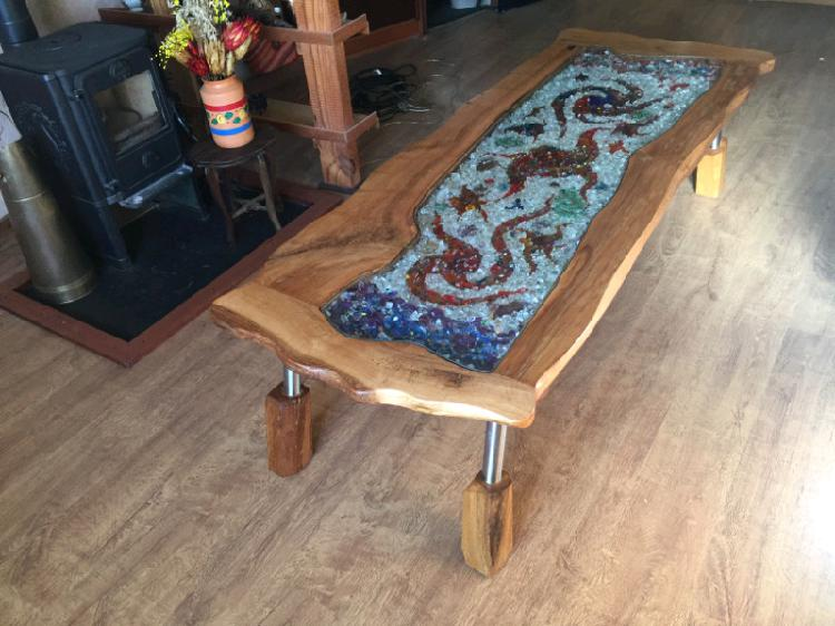 Hand made art coffee table