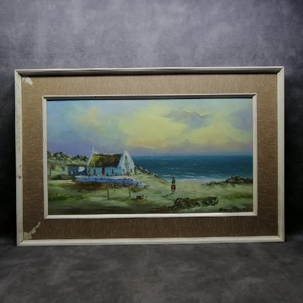 Highly detailed, framed, oil on board landscape by hansie