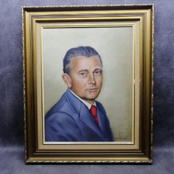Highly detailed, framed, oil on board portrait by johan