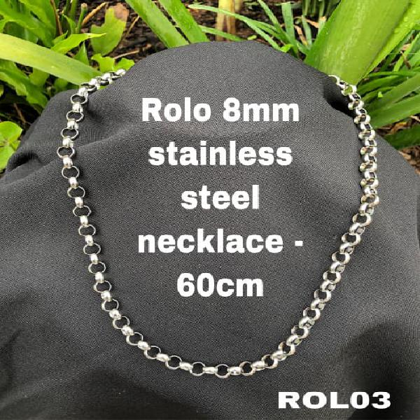 Rol03 rolo 8mm link stainless steel necklace 60cm