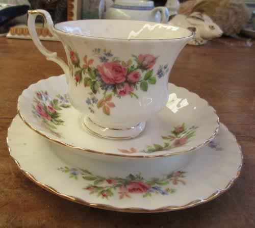 Beautiful royal albert moss rose trio cup saucer and side