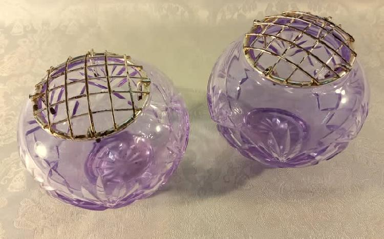 Two exquisite vintage purple crystal small posy vases with