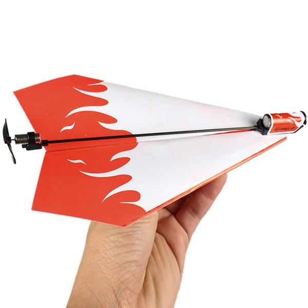 Folding electric power paper aircraft conversion kit toy