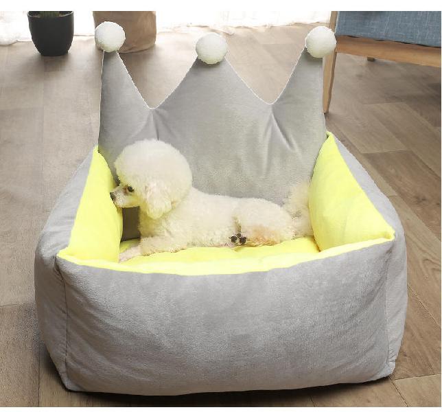3 colors luxury crown crystal velvet pet bed kennel dog cat