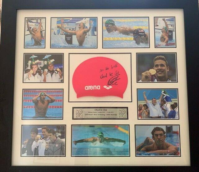 Limited edition signed swim cap and photo collage of south