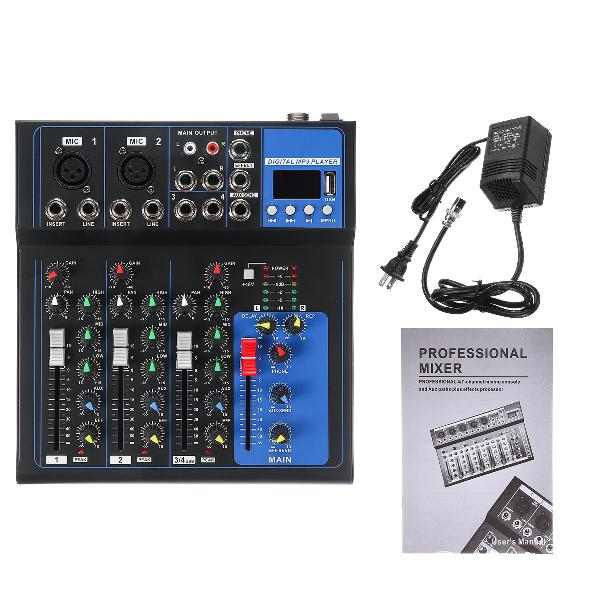 4 channels audio mixer usb mini sound mixing console audio