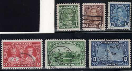 Canada 1935 silver jubilee set of 6 vfu but small thin to