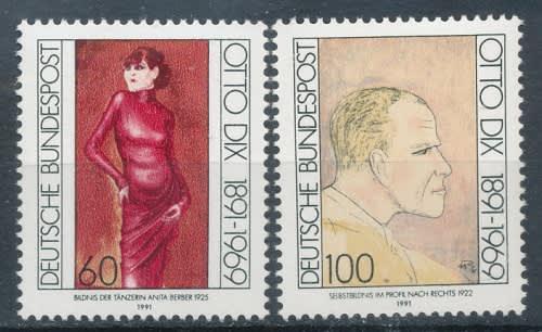 Germany - 1991 anniversary of otto dix complete set - fine
