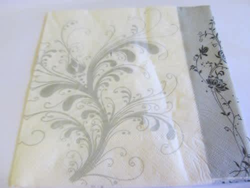 Decoupage serviettes, flower design, white with silver and