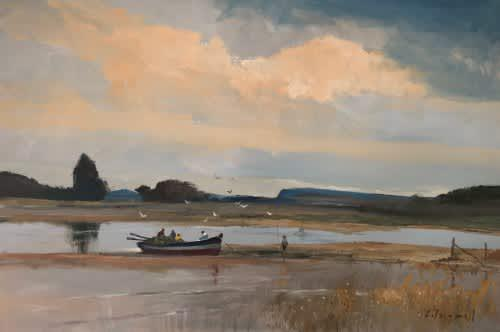 Stunning chris tugwell original oil on board (91 x 60,7 cm).
