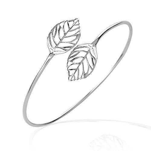 925 sterling silver twin open leaf flexible thin lines