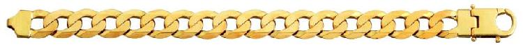 9k / 9ct gold bevelled curb chain: 13mm wide, 60cm. last