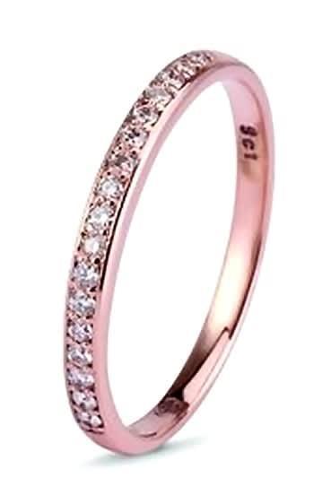 9k / 9ct rose gold band: 0.17cttw diamonds, size n