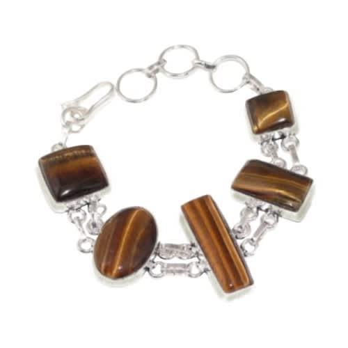Assorted shapes natural tigers eye gemstones silver bracelet