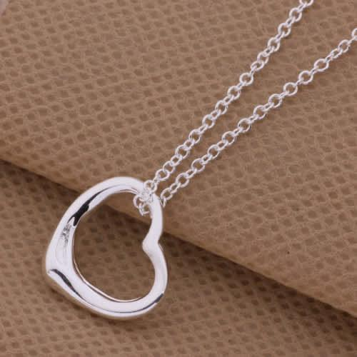 Fashion heart shape silver plated necklace with pendant