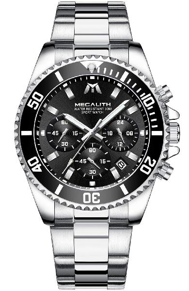 Megalith mens watches stainless steel waterproof gents watch