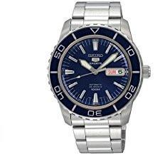 Seiko 5 automatic dark blue dial stainless steel mens watch
