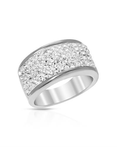 White crystal broad dress ring in 925 sterling silver- size