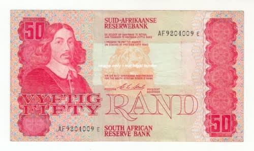 1990 south african reserve bank fifty rand note - c l stals