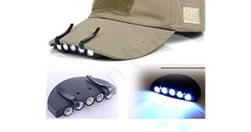 Bright 5 led clip on hat head cap light headlamp flashlight
