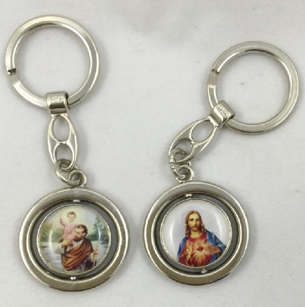 Catholic st christopher and sacred heart keyring