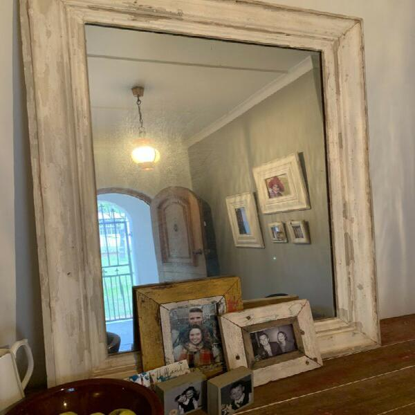 Large vintage look framed mirror.