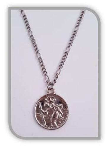 2.4cm diameter st christopher pendant with 45cm chain