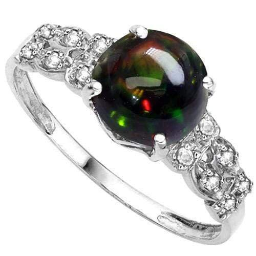 2/3ct lab created black opal & natural diamond 925 sterling