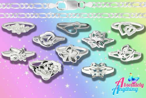 49pcs fashion rings and 14pcs fashion 2mm chains 45cm and